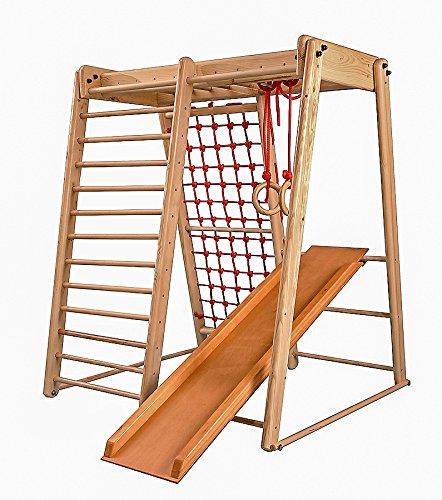 Kinder zu Hause aus Holz Spielplatz mit Rutschbahn ˝Malček-3˝ Kletternetz Ringe Kletterwand