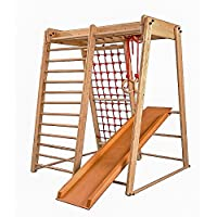"Centro de actividades con tobogán ""Malcek-3"", red de escalada, anillos, escalera sueco, campo de juego infantil, Juguetes"