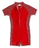 Playshoes Unisex - Kinder Sweatshirt, gepunktet UV-Schutz nach Standard 801 und Oeko-Tex Standard 100 Bade-Einteiler in rot mit weißen Punkten 461031, Gr. 104, Rot(8 rot)