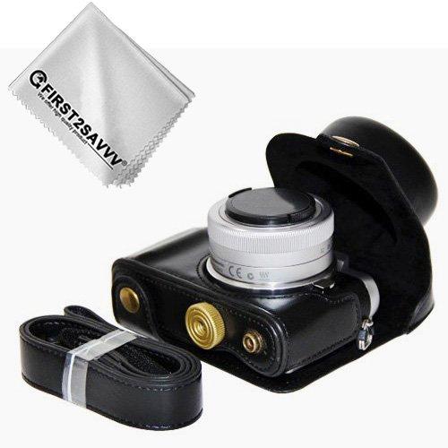 First2savvv PU cuir étui housse appareil photo numérique pour Panasonic Lumix DC-GF9.GF8 .GF7.GX850.GX800 avec Lens 12-32mm + Chiffon de nettoyage XJD-GF9-01