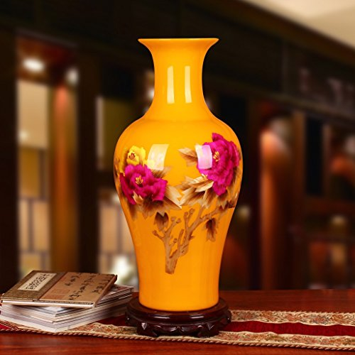 hankook-chinaware-amarillo-paja-peony-grandes-jarrones-techo-pata-adornos-artesanales