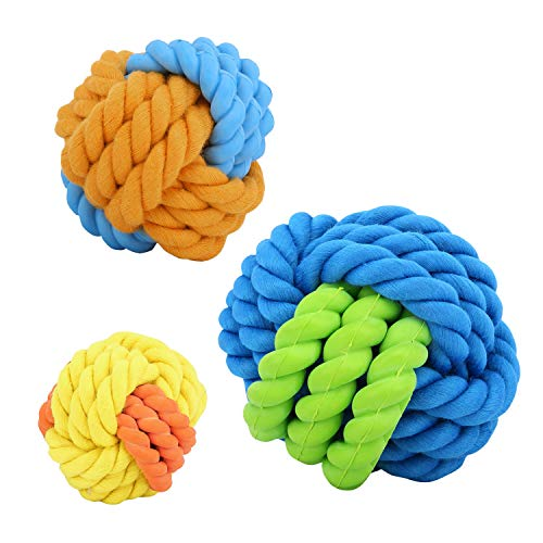 Vavopaw Fluff and Tuff Plush Ball Toy for Dogs, [3 PACK] Exercise Training Trackshot Nontoxic PU Puppy Ball Bouncy Toss Throw and Fetch Pet Roller Ball Dog Teething Playing Chewing Toy Ball - Colorful (Bouncer Soft)