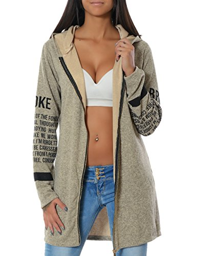 Daleus Damen Kapuzenpullover Sweatjacke Hoodie Zip DA 14183, Farbe:Beige, Größe:One Size