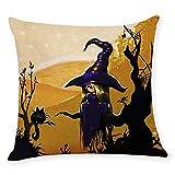Rokoy Federa per Decorazioni per La Casa, Decorazione di Halloween, Federa per Halloween di Strega, Federa per Gufo con Cappello di Pipistrello Fantasma di Zucca, 45x45cm