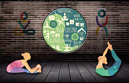 Wallpaper 3D Brick Wall Yoga Figura Yoga Hall Tooling Background Wall, 350X245 Cm (137.8 X96.5 In)