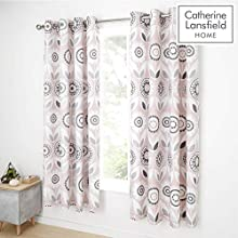 Catherine Lansfield Annika Easy Care Eyelet Curtains Pink 66x72 Inch