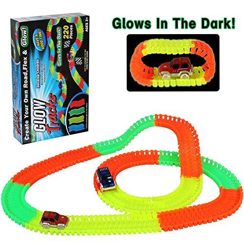 Cars Race Spielzeug (Car Track mit 2 LED Race Cars Spielzeug 220 Stück Flexible Variable Track Set Glow in the Dark für Kinder)
