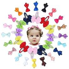"32PCS Cute Bow Hair Clip Barrettes, Including 20Pcs 2"" Mini Bow Hair Bow Ribbon Alligator Clips, 12PCS Girls Snap Bow Hair Clip For Girls Toddlers Kids"