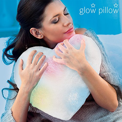 Hasëndad Glow Pillow Almohada LED Corazón, Poliéster, Blanco, 33.5x12x35 cm