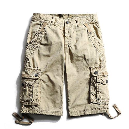 Herren Cargo Shorts Cargohose kurze Hose Loose Fit aus Baumwolle Hosentasche Overall Kaki
