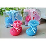 Babies Bloom Baby Pink & Blue Shoe Birthday Candle Favor (Set Of 2)