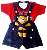 Miss U Baby Boy High Quality Soft Denim Dungaree Set With T-Shirt (RED)