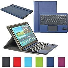 Funda con Teclado Bluetooth CoastaCloud Teclado Bluetooth Inalámbrico 3.0 QWERTY Español con Multi Touchpad - Compatible 9-10.6 Pulgadas Cualquier Windows / Android OS Tablet PC (Tamaño de la tableta adecuada:Min 15x24cm Max 18x26cm) Azul Oscuro