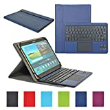 CoastaCloud Funda con Teclado Bluetooth Teclado Bluetooth Inalámbrico 3.0 QWERTY Español con Multi Touchpad - Compatible 9-10.6 Pulgadas Cualquier Windows/Android OS Tablet PC (Azul Oscuro)