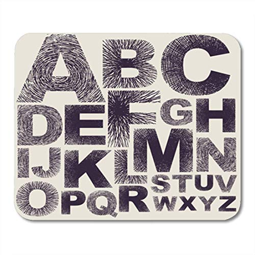 HOTNING Gaming Mauspads Gaming Mouse Pad Letter Alphabet Doodle Retro Text Sketch Ink Edgy Drawing 11.8