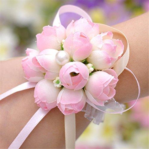 2x wicemoon Blume Armband Künstliche Blumen Handgelenk mit Armband für Mädchen Bridesmaid Wedding Handgelenk Party Hand Blume (Blumen-armband)