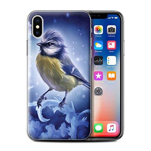 Offiziell Elena Dudina Hülle / Case für Apple iPhone X/10 / Wald/Perlenkette Muster / Die Vögel Kollektion Winter-Vogel/Frost
