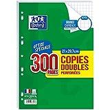 Oxford - Copies Doubles Perforées Blanches - Format A4 - 21 x 29.7 cm - Grands Carreaux Seyes - Lot de 300 Pages