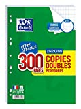 Oxford - Copies Doubles Perforées Blanches - Format A4 - 21 x 29.7 cm - Grands Carreaux Seyes - Lot de 300 Pages