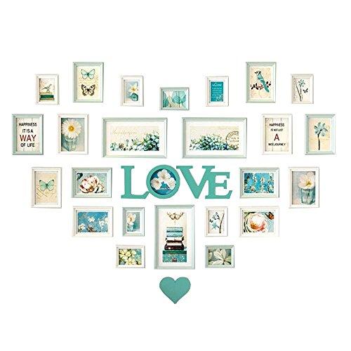 Wuxk la sala le pareti sono decorate foto amore creativa europea parete combinazione cornice fotografica a forma di cuore camera da letto decorazioni murali photo wall e