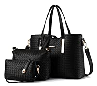 Tibes Fashion Pu Leather Handbag+Shoulder Bag+Purse 3pcs Bag Tote by Tibes
