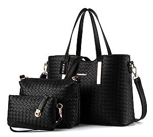 Tibes Fashion Pu Leather Handbag+Shoulder Bag+Purse 3pcs Bag Tote by Tibes