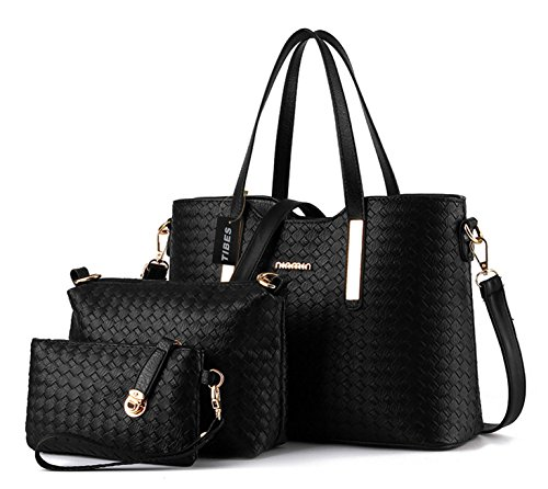 - 51bXt 2BqpQ1L - Tibes Fashion Pu Leather Handbag+Shoulder Bag+Purse 3pcs Bag Tote