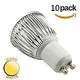 SmartSun Long Neck GU10 6W LED Spotlight Beautiful 3000K Warm White Bulb 50W Halogen Equivalent,60°Beam Angle,Ultra Bright LED Light Bulbs,For Ceiling Lighting, Tracking Lighting or Recessed Lighting, Pack of 10