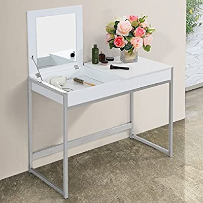 Miadomodo Dressing Table Make Up Dresser with 2 Compartments and Large Mirror (White or Black) Cosmetics Commode Bedroom Furniture