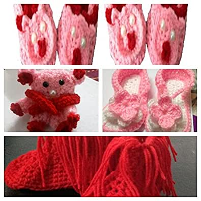 Siya Creations Two beautiful hand made woolen baby booties with a crochet baby hat