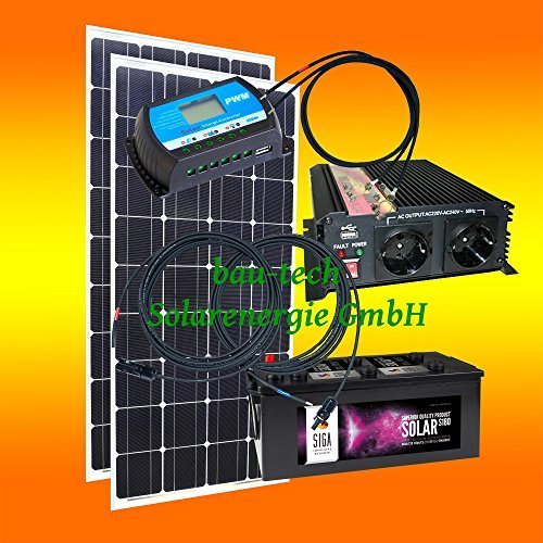 200 Watt Inselanlage, 12 Volt Komplett SET mit Spannungswandler mit Batterie