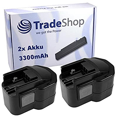 2x Hochleistungs Ni-MH Akku, 12V / 3300mAh für Atlas Copco AEG Milwaukee PAD12 PAS12PP PCG12 PCS12T PEP12 PEP12T PEP12TX PES12 PES12T PJX12PP PN12 PN12PP PPS12 Power Plus PPS12PP PSG12 Power Plus PSG12PP PSM12PP T Flat pack Worklight Kit