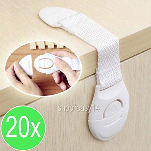 Preisvergleich Produktbild EMOTREE 20x Baby Kindersicherung Schrank Klemmen Schrankschloss Schubladen Kommode Kühlschrank Sicherheitsschlösser Weiß