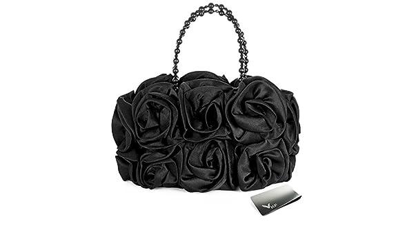 Missy K Satin Rose Handbag Purse with Beaded Chain Handle kilofly Money Clip