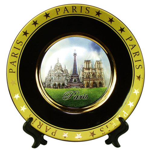 Souvenirs de France - Assiette Monuments de Paris en Porcelaine - Noir