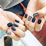 Bridalvenus 24Pcs/Set Bridal False Nails Set Full Cover Short Square Glossy Blue with Flowers Fake Nail Tips with Design Press on Nails with Glue and