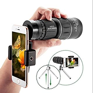 RDJM 16× 52 Télescope Monoculaire, HD Portable Haute Définition Mini Télescope (66/8000M) Dual Longue Vue Zoomable Optique Vision & Nuit Idéal Pour Randonnée, Camping, Observation Des Oiseaux