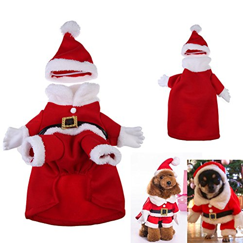 Chinatera Christmas Santa Claus Dog Pet Cat Clothes Costume Dress Winter Apparel (S: 23*36*24cm)