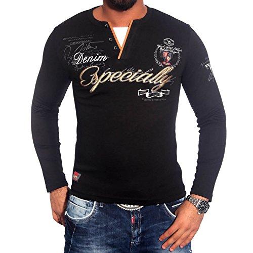 Herrenshirt V-Neck Longsleeve T-Shirt Poloshirt Schwarz/Weiss/Blau/Grün BB-648 Schwarz