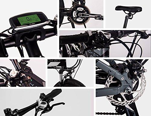 RICH BIT bicicleta de montaña eléctrica RT860 12.8Ah batería LG 7 velocidades Pedelec pantalla LCD Raqueta trasera Bolsa de bicicleta EBike completa Gris