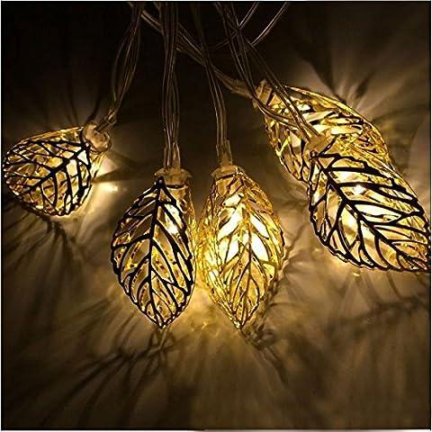 LGZOOT 10 LED 3.9ft / 1.2m Baum Blatt Lichterketten Batteriebetriebene Metall Ornament Lichter Für Im Freien Hochzeit Weihnachten (3