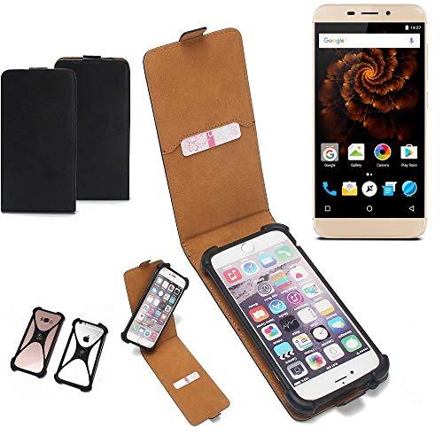 K-S-Trade Flipstyle Case für Allview X4 Soul Mini Schutzhülle Handy Schutz Hülle Tasche Handytasche Handyhülle + integrierter Bumper Kameraschutz, schwarz (1x)