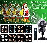 Weihnachtsprojektor Lichter LED projektionslampe, Anime Schneeflocke Projektor Light mit Fernbedienung Timer und Musik Player halloween landschaft projektor für Outdoor Hochzeit Weihnachten