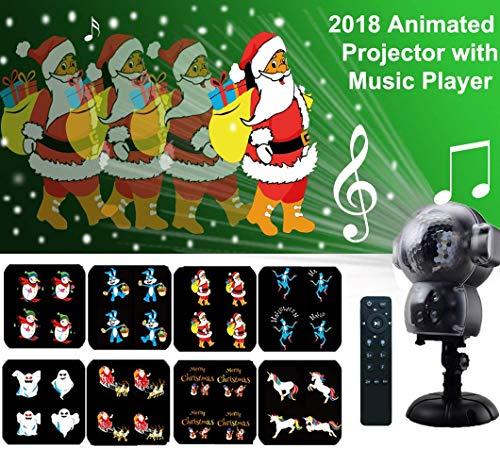 Weihnachtsprojektor Lichter LED projektionslampe, Anime Schneeflocke Projektor Light mit Fernbedienung Timer und Musik Player halloween landschaft projektor für Outdoor Hochzeit Weihnachten (Hause Zu Halloween-zeichen Nicht)