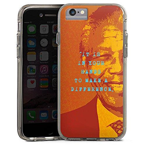 Apple iPhone 6s Bumper Hülle Bumper Case Glitzer Hülle Mandela Veraenderung Change Bumper Case transparent grau