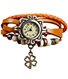 Vintage Antique Retro Style Weave Wrap Leather Strap Trendy Ladies Bracelet Watch With Butterfly Pendant (ORANGE) best price on Amazon @ Rs. 159