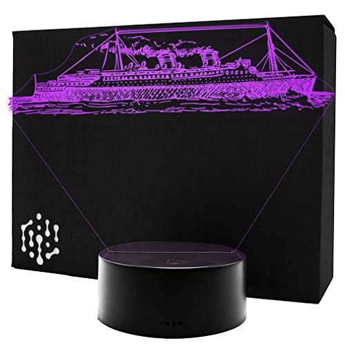 3D LED Lampe Vintage Boot Schiff Nachtlicht Leuchte 7 Farben Elbeffekt - Kreuzfahrtschiff Geschenk Stimmungslicht - Acryl Illusion Dekoration Dekolicht