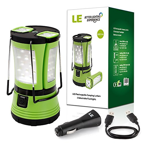 51bY%2BpGr%2BqL. SS500  - LE LED Camping Lantern with 2 Detachable Torches, USB Rechargeable and Battery Operated, 600 Lumen Tent Light, Outdoor Searchlight for Emergency, Hiking, Fishing, Power Cuts and More