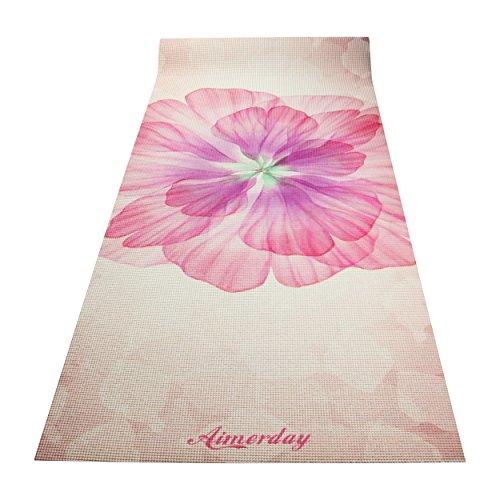 Aimerday Premium Bedruckte Yogamatte 183 cm lang 1/10,2 cm Extra Dick hoher Dichte Umweltfreundlich Rutschfeste Matten für Pilates, Fitness, Hot Yoga mit Tragegurt und Reisetasche