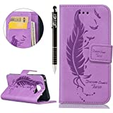 SainCat Coque Etui pour Samsung Galaxy A3(2016) Cover Bumper,Anti-scratch Cuir Dragonne Portefeuille PU Cuir Etui pour Galaxy A3,Coque de Protection en Cuir Folio Housse,SainCat PU Leather Case Bling Diamond Brillant Glitter Wallet Flip Protective Cover Protector,Etui de Protection PU Cuir Relief fille papillon Coque Housse Swag Case Cover Coquille Couverture avec Fonction Carte de Crédit pour Samsung Galaxy A3(2016) + 1 X Stylet(Feuille de plume-violet)
